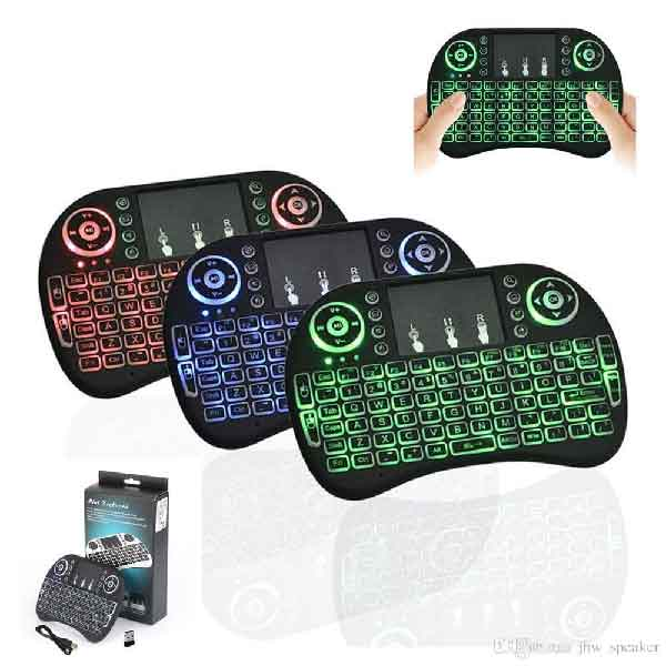 MINI TOUCH PAD RF 500 WIRELESS WITH 3 COLOR BACK LIGHT KEYBOARD MOUSE